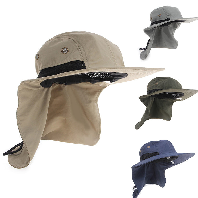 Cycling Cap Boating Hiking Outdoor Snap Hat Brim Ear Neck Cover Sun Flap Cap Polyester Adjustable 55-63 cm 4 Colours