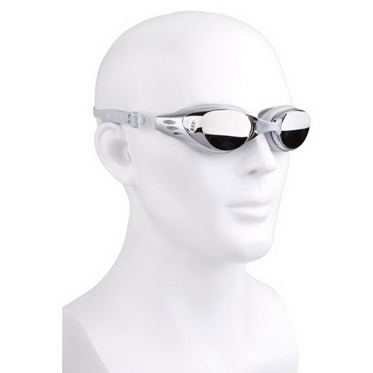 Myopia Swimming Goggles Swimming Glasses Submersible Mirror Anti-fog Waterproof 200 300 400 500 600 Degrees Silver Color