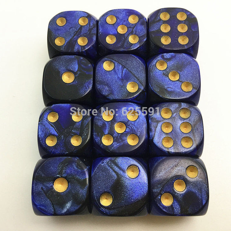 New 16mm Nebula Dice with golden dots, Casino Mtg Drinking Dice for Board game