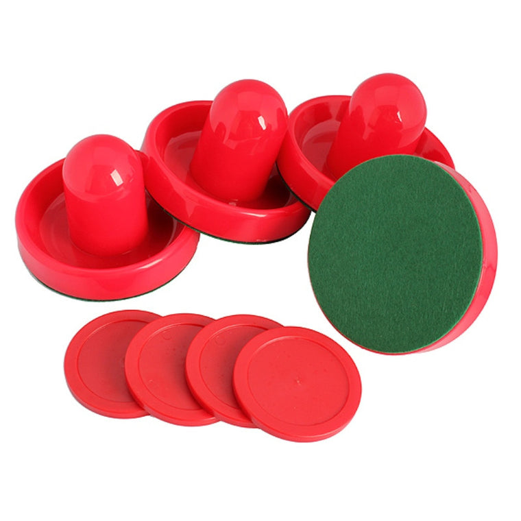 4Pcs/Set of Air Hockey Pushers and Air Hockey Puck Air Hockey Ball Table Goalies with Puck Felt Pusher Mallet Grip Red