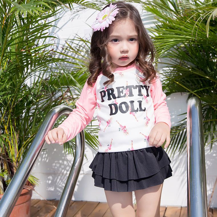 girl swimsuit children two pieces swimwear kids long sleeves beach suit for 3-11 years old wholesale or retail