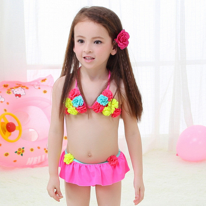 Children's swimsuit girls flower bikini baby girl swimwear little girls swim swimsuits for children girls swimming clothes