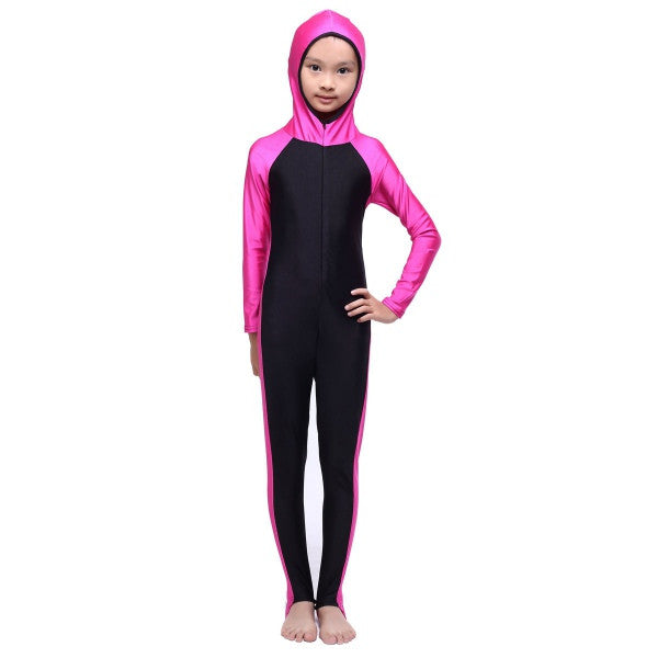 Hot sell Hooded Kid Girls Islamic Muslim Full Cover Swimsuit Beachwear Costumes New Style