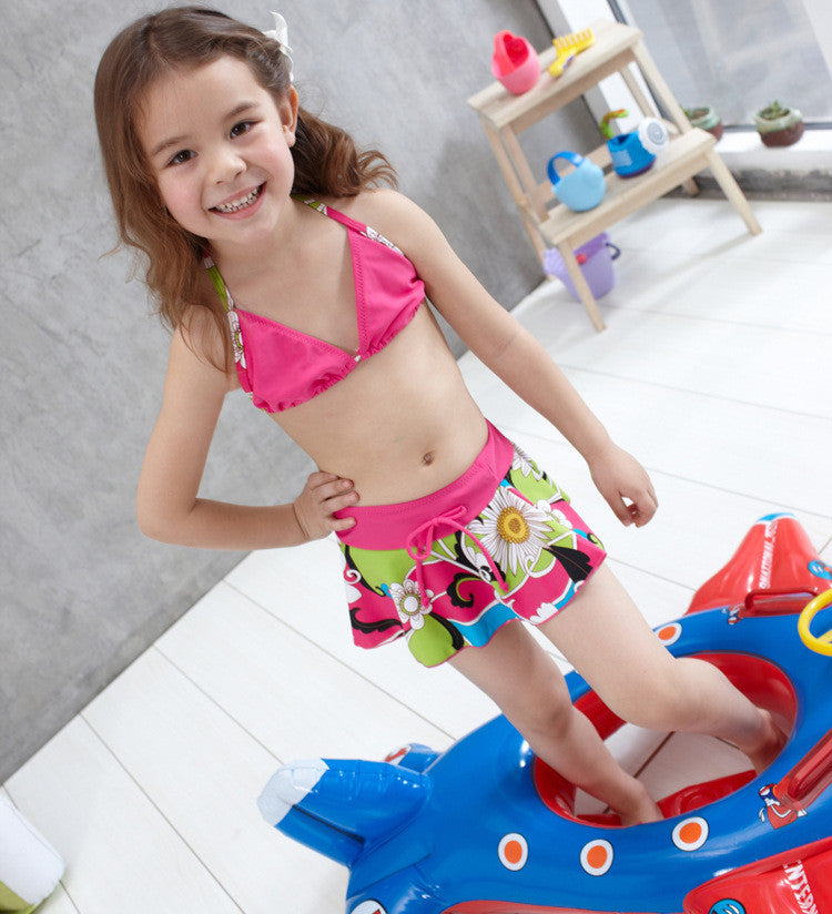 Infants Girls Bikini Kids Flower Print Skirted Swimsuit Fancy Bathing Suit Swimwear Dress Two-Piece Separate Bikini Skirtini