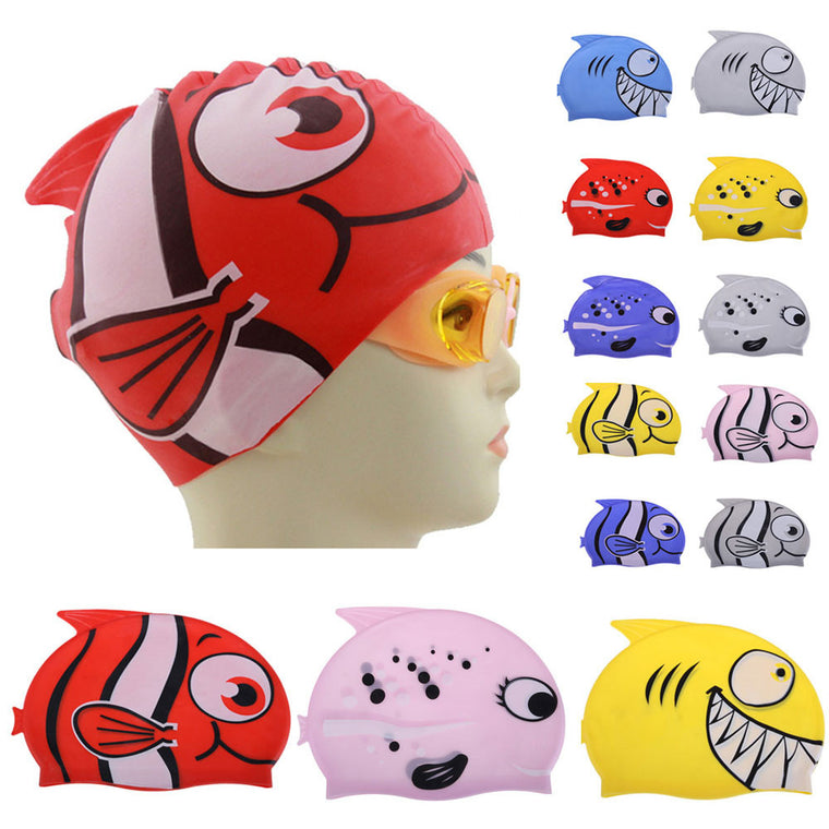 New Cute Children Cartoon Swimming Cap Silicon Child Diving Waterproof Swimming Cap Fish Shark Pattern 14 Colors