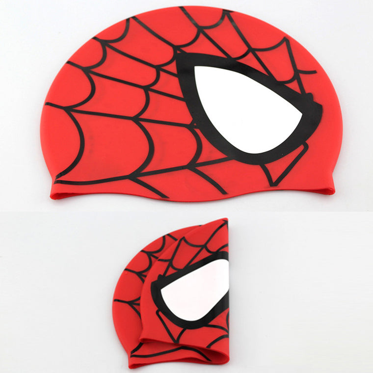 Hot Spider-man Children Elastic Cartoon Swimming Cap Red/Blue Waterproof Swimming Hat for Kids/Teenagers