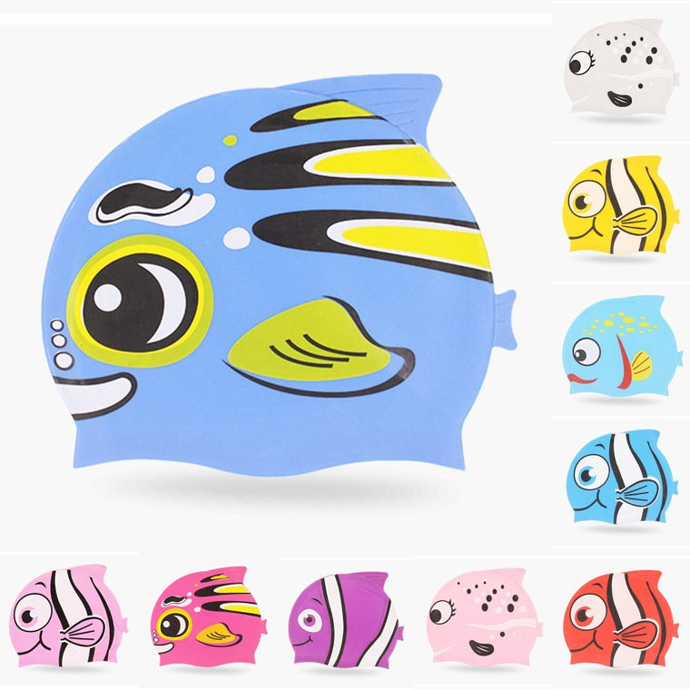 New Cute Cartoon Fish Kids Children Silicone Flexible Waterproof Long Hair Ear Protection Swim Pool Swimming Diving Head Cap Hat