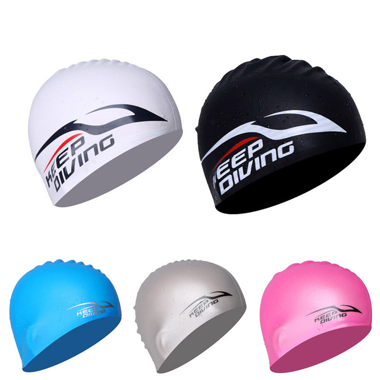 KEEP DIVING 100% Silicone Swimming Cap For  Long Hair Silica Hood Ultrathin Hat Protect Ears Waterproof elasticity Swimming hat