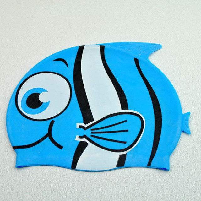 Cute Cartoon Fish Children Swimming Cap Swim Hat Silicone Waterproof Earmuffs Swim Cap for Kids Zipper Closure Grey Shark