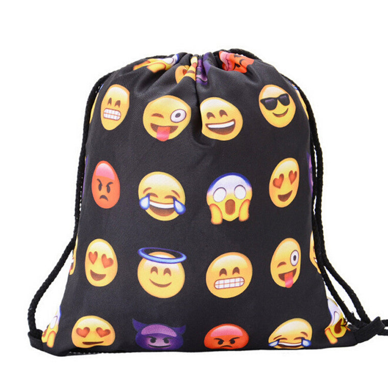 Women Emoji Backpack 3D Printing Travel Bag Softback Women Mochila Drawstring Bag Mens Sports Bag Swimming Bag