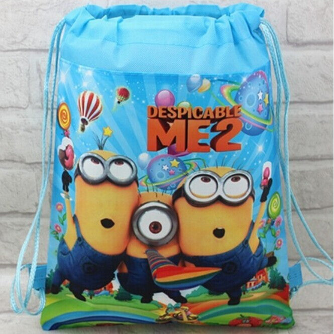 12pcs/lot children's backpack 3D eyes Despicable me 2 minion memory Drawstring waterproof  non-woven School Bag  for girls boys