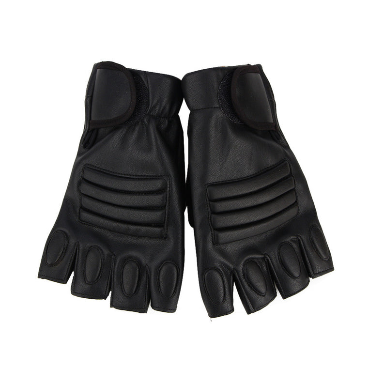 1 Pair PU Leather Half Finger Gloves For Men Women Cool Black Motocycle Gloves Fitness Training Gym Gloves Weight Lifting Gloves