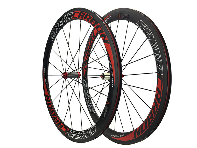 OEM Road Bike Full Carbon Wheels 50mm Straight Pull Bicycles Wheelset Powerway R36 Hub Red Other Sticker/Painting Accept