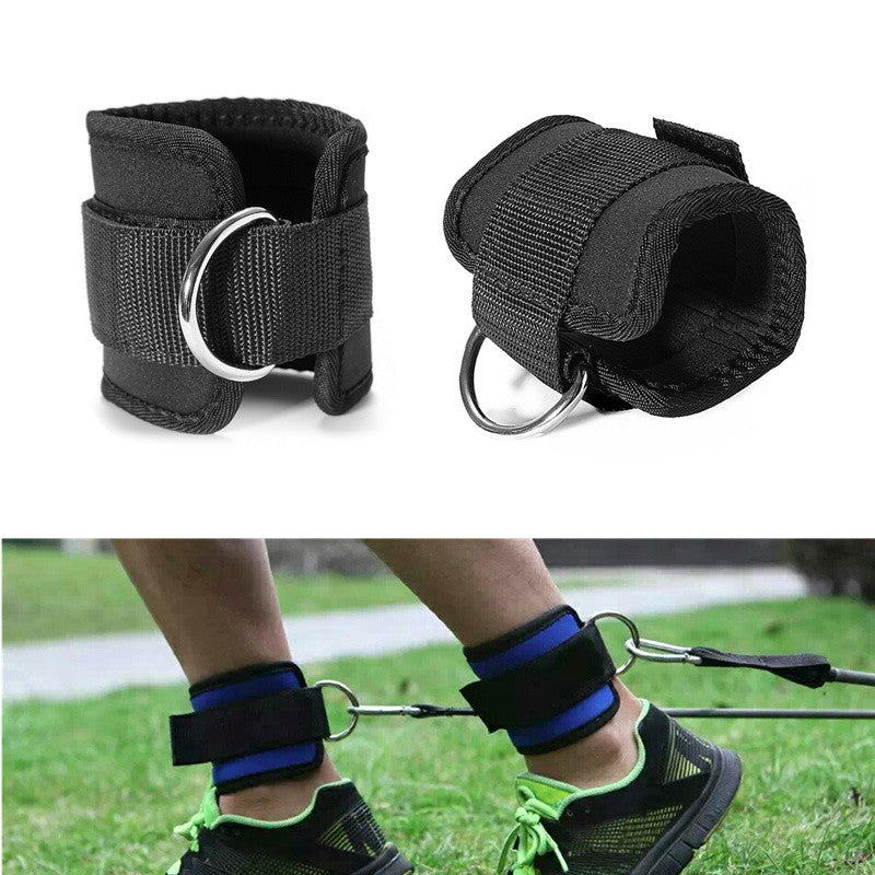 1 Pair Resistance Band D-ring Ankle Straps Workouts with Durable Cuffs for Ab, Leg & Glute Exercises Home Gym Fitness Equipment
