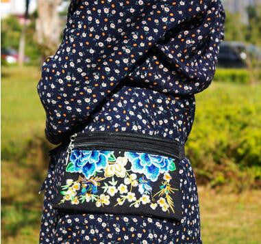 New Coming Multi Women's Waist bags!New Vintage Ethnic embroidery embroidery bag canvas Floral waist packs portable shoulder bag