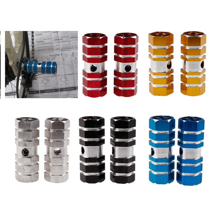 1Pair Aluminum Alloy Pegs Cycling Bicycle Bike Rear Foot Peg Stunt Six Axle Bicycle Components Parts