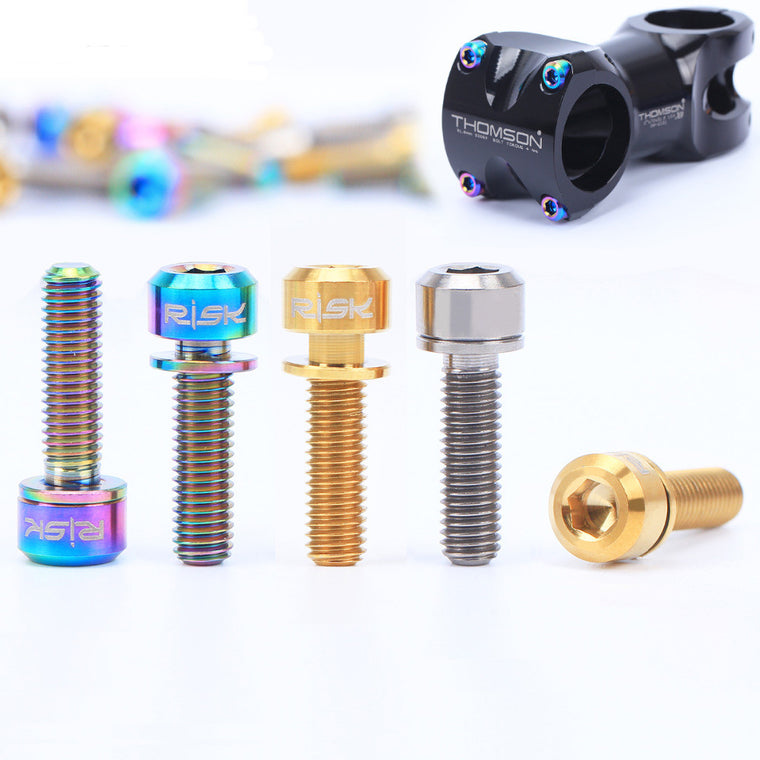 RISK 6pcs M5x18mm Ti Titanium road Bicycle Stem Bolt Mountain Bike Ultralight Stem Screw with Washers Gasket bicycle DIY parts