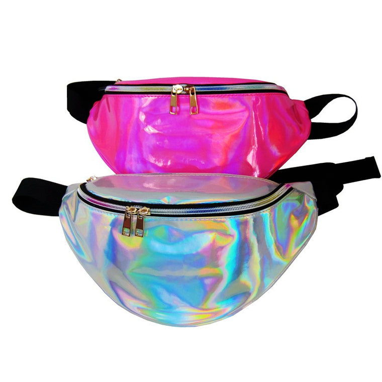 funny pack women's Laser purse translucent reflective chest waist bag women belt bag waist punk fanny designer waist bag