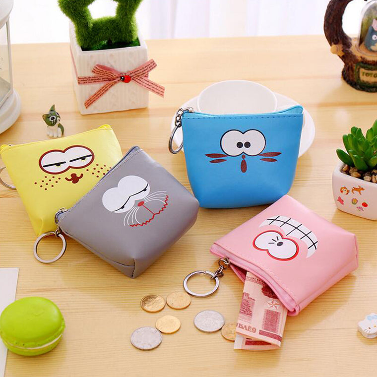 QZH Cartoon Coin Purse For Women Girl PU Leather Wallets Zipper Key Chain Change Purses Wallet Card Holder Coin Pocket Pouch