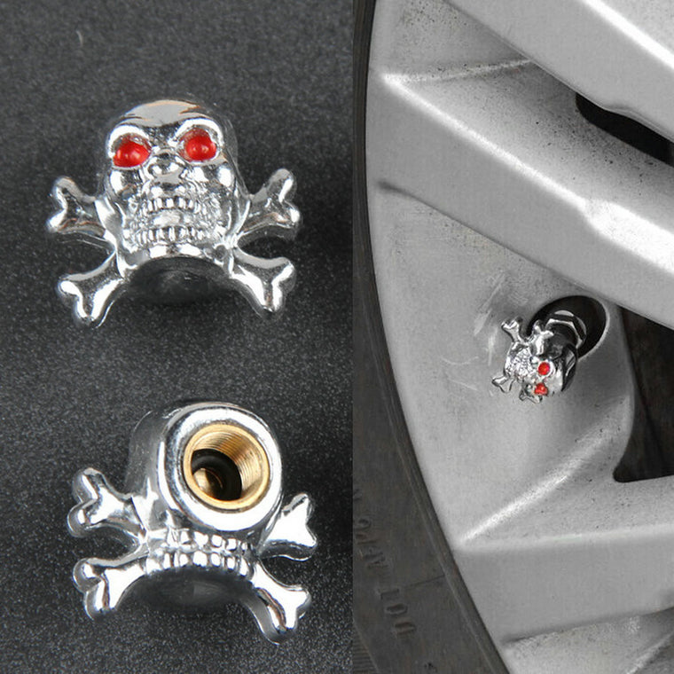 Wholesale 4pcs Sliver Universal Fancy Pirate Skull Tire Tyre Air Valve Stem Caps for Auto Car Truck Motorcycle Bike Wheel Rims