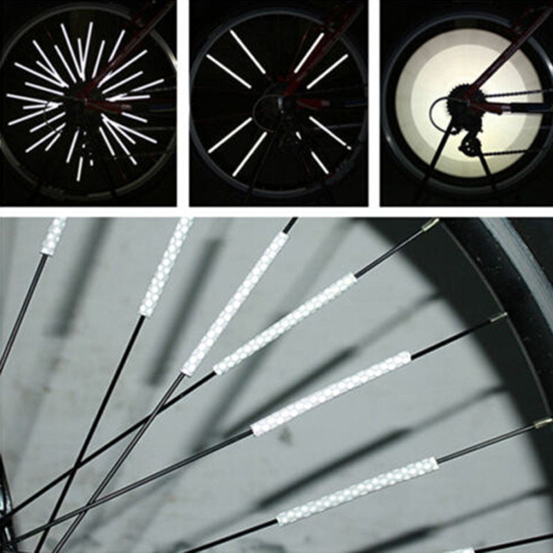 12PCS Bicycle Bike Wheel Spoke Reflector Road Mountain Bike MTB Wheel Rim Reflective Spoke Mountain Warning Light Tube