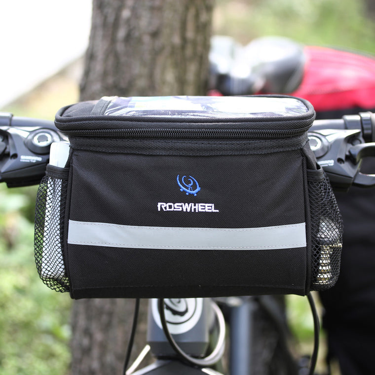 Bicycle Bags Cycling Bike Bag Removable Heat Protection Foldable Bicycle Front Handlebar Bag for Map Touch Phone Bottle Stuff