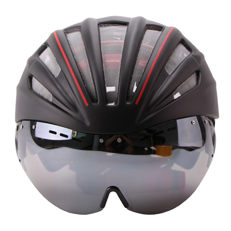Goggles Bicycle Helmet Double Layers In-mold Cycling Helmet With Lens Ultralight Casco Ciclismo Bike Helmet 55-61CM