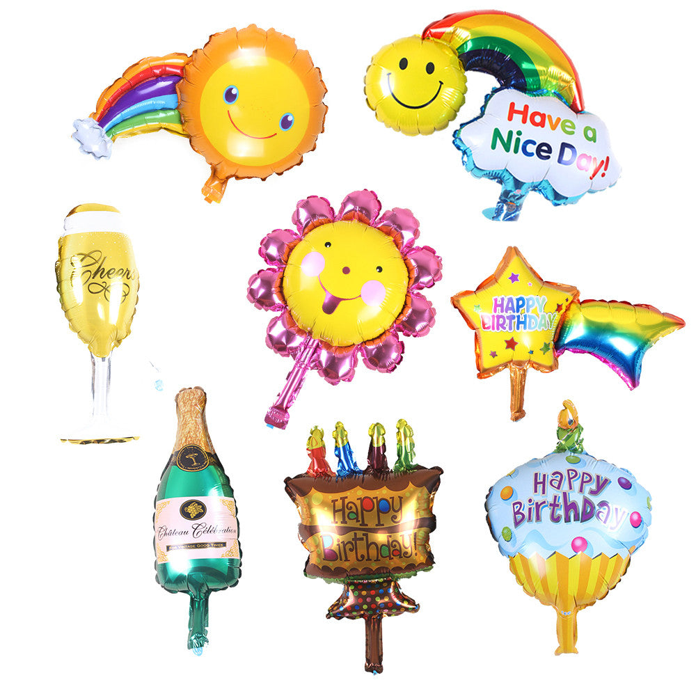8Pcs Rainbow Smiley Inflatable Foil Balloons Happy Birthday Champagne Cup Bottle Air Balloons utdoor Wedding Party Balloon