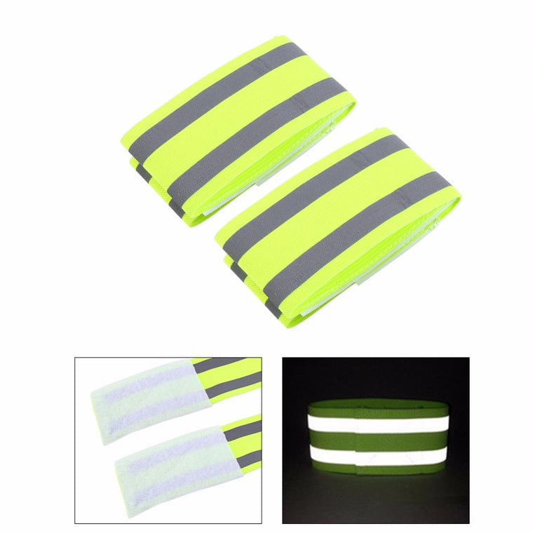 1 Pair Double Reflective Band Strips Nylon Fabric Elastic Wristbands Ankle Bands Safety Reflective Warning Strip