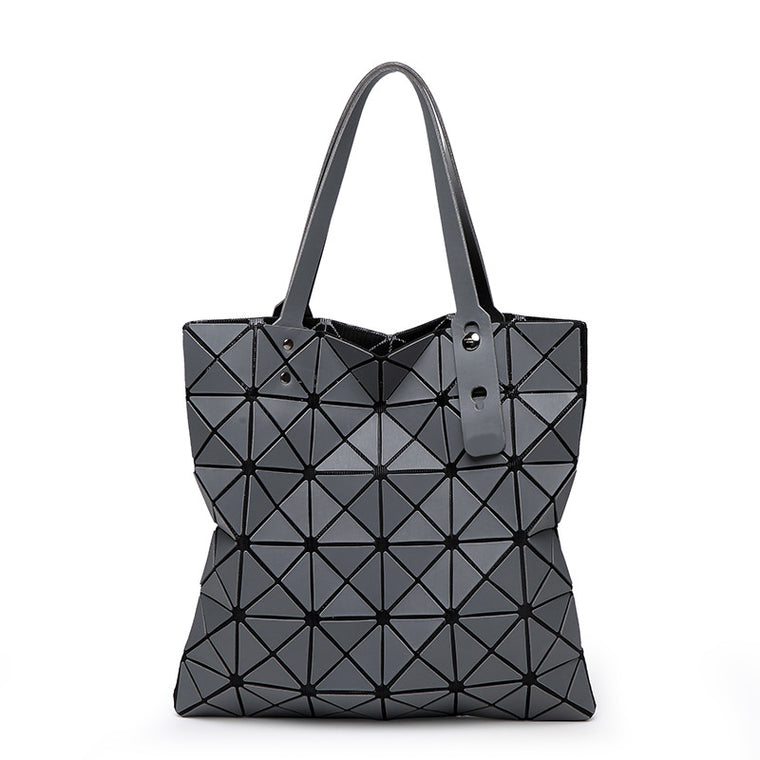 Japanese Style Diamond Lattice Tote Handbag For Ladies Geometry Laser Quilted Women Shoulder Bag Bao Fold Over Holographic Bags