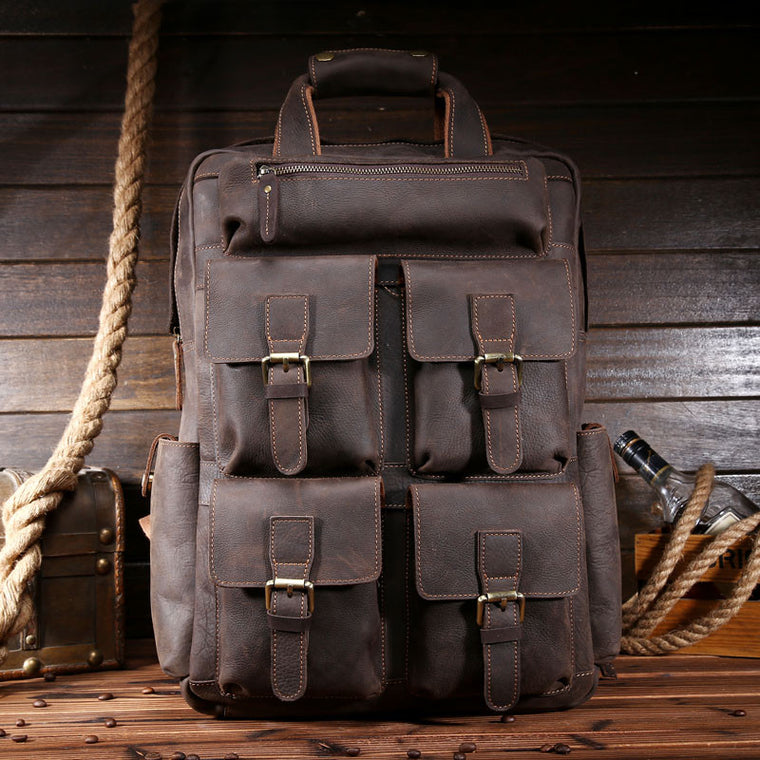 Brand Design Men Genuine Leather Backpack Crazy Horse Vintage Daypack Multi Pocket Casual Rucksack Vintage Handmade Tote 9065A