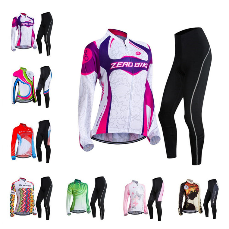ZERO BIKE Colors Women's Long Sleeve Jersey Sets Full Zip Polyester Jacket 3D Padded Pants Spring Autumn Outdoor Cycling XY01