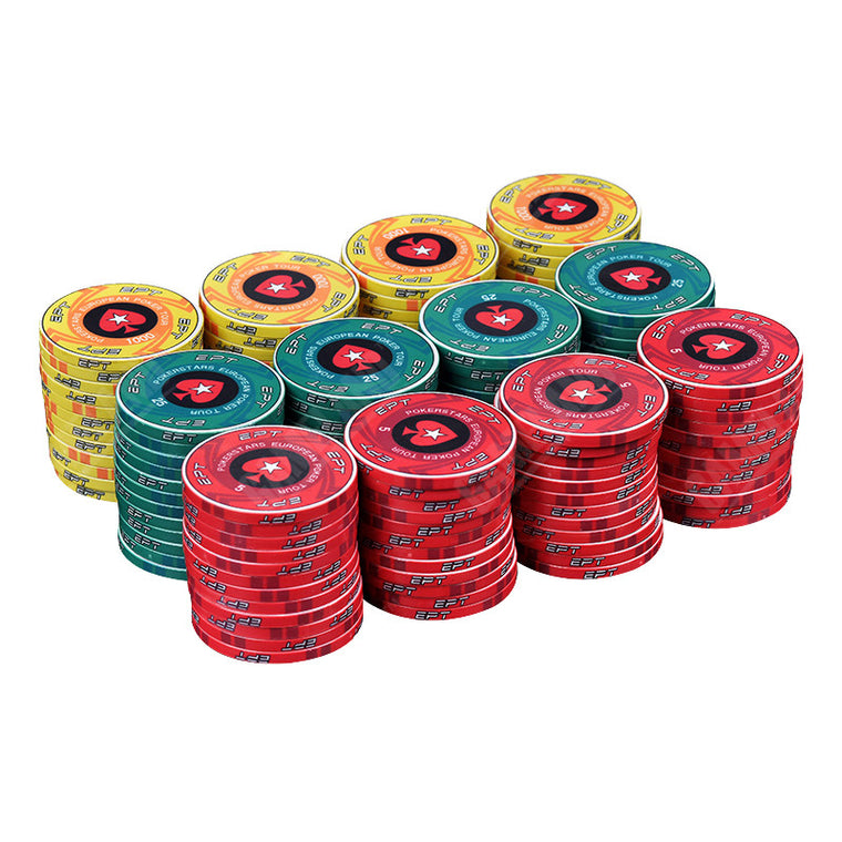 EPT Ceramic Poker Chips Best Quality Poker Stars Professional Chips European Poker Tour Chips 5PCS
