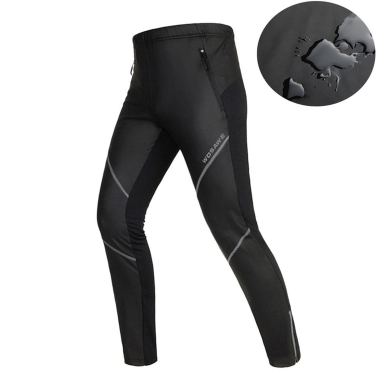 WOSAWE Cycling Pants Fleece Thermal Warn Windproof Bicycle Tights Waterproof Running Racing Hiking Fishing Sportswear Trousers