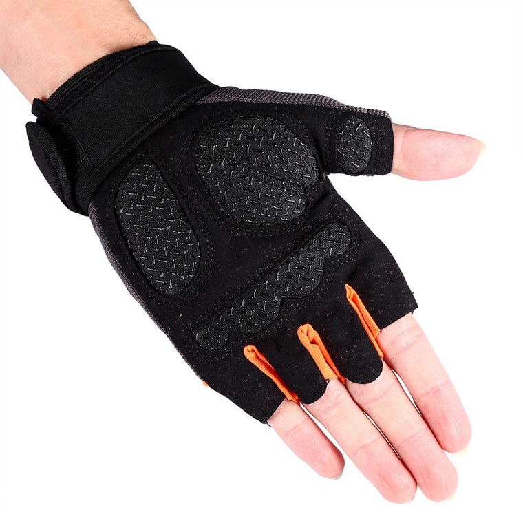 1Pair Gym Training Weight Lifting Gloves Men Bar Grip Half Finger Fitness Gloves Pad Workout Body Building Exercise Hike Fish