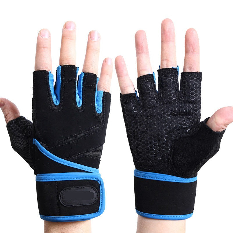 Silicone Antiskid Durable Fitness Sports Gym Gloves mitts Thicken protection Non-slip ( with 49 cm wrist protect )