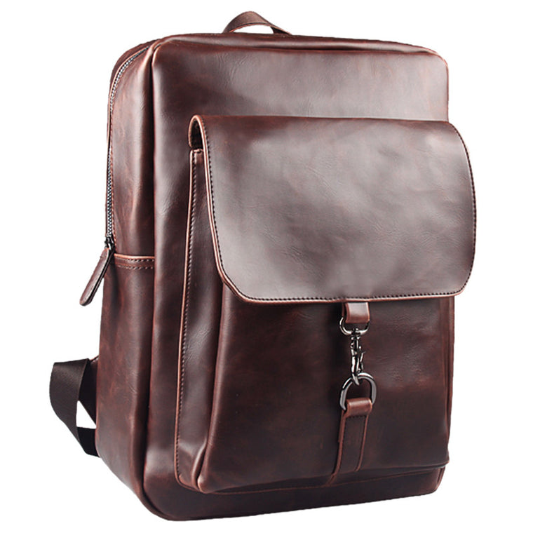 LEVELIVE High Quality Crazy Horse Leather Backpacks Men Travel Bag Vintage Mens School Bags Leather Laptop Backpack Male Mochila