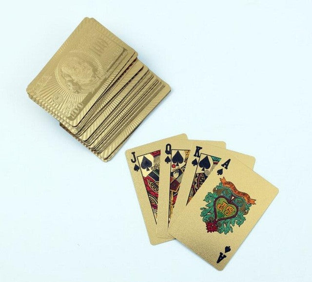 1Set Gold Foil Plated Poker Game Playing Cards