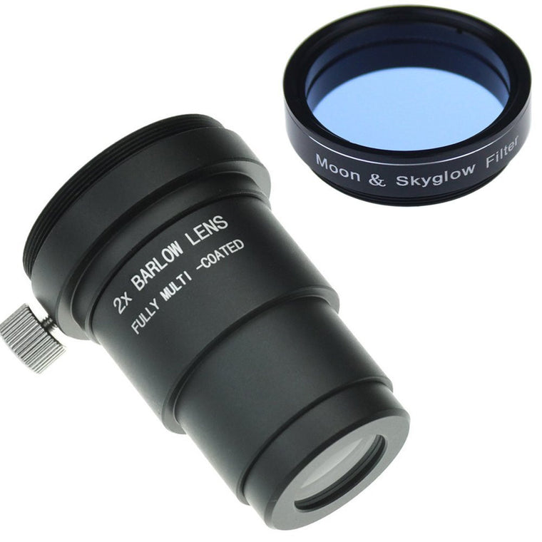 "1.25"" Moon Filter & 2x Barlow Kit for Telescope Eyepieces"