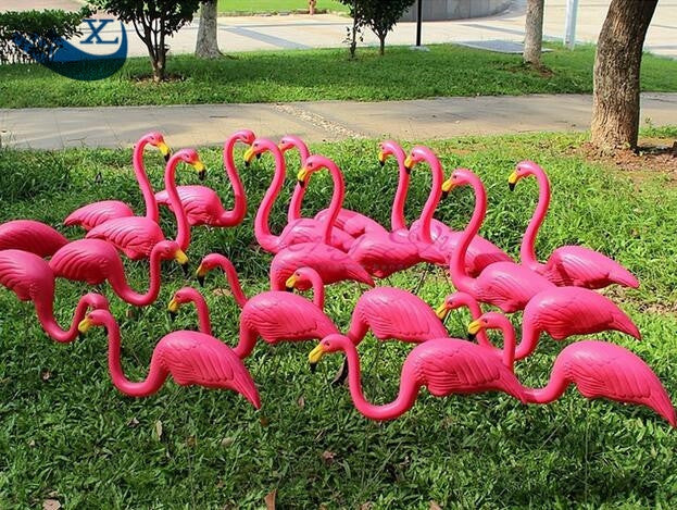 2PCS/PAIR Plastic Yard Garden Lawn Art Ornaments Decoration Flamenco Rosado