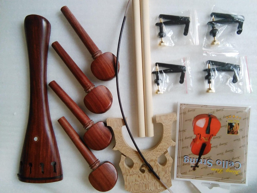 1 Set Rose wood Cello Parts 4/4 including cello tail piece 4 pcs pegs+2 sound post+4 string adjuster+cello gut etc all 4/4 SF40