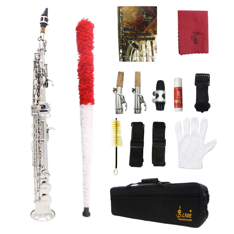 LADE Soprano Saxophone SAX Bb Brass High F# key Lacquered Gold Body and Keys with Lubricating Cork Grease