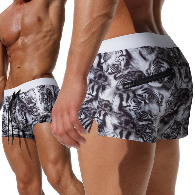 Austinbem Swimwear Hot Animal Print Men'S Swimming Trunks Back Pocket Men Swimsuits Mens Swimming Shorts Sunga Masculina 222