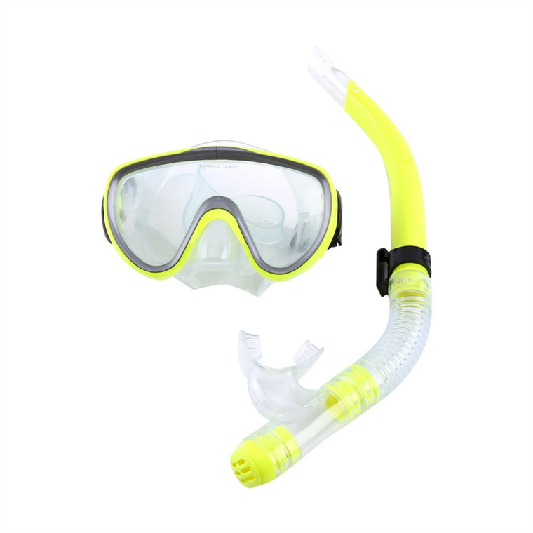 1set PVC Adult Diving Mask Tempered Glass Breathing Tube Silicone Mouthpiece Semi-dry For Diving Snorkeling Package Combo