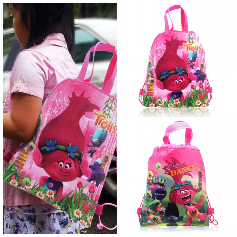 1PCS Trolls Children Cartoon Drawstring Backpacks School Shopping Bags 34*27CM Non Woven Fabrics Kids Birthday Party Best Gift