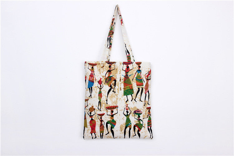 Bohemia Canvas DIY Crafts Carry-All Tote Bag Lunch & Grocer printed cotton handbag ethnic England style coo shoulder bag