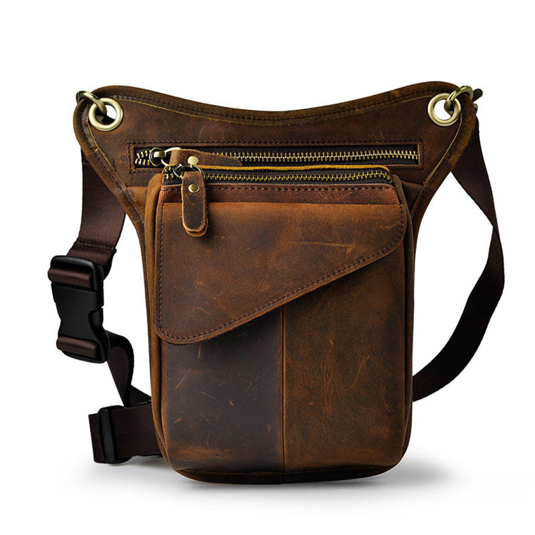 New Vintage Genuine Leather Casual Multi-functions Bag Men's Leg Waist Pack Phone Tool Kit Organizer Shoulder Bag Messenger Bag