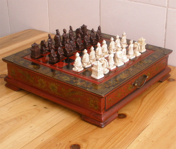 High end gift Antique chess Collectibles Vintage 32 chess set Terracotta Army pieces wooden table chess pieces