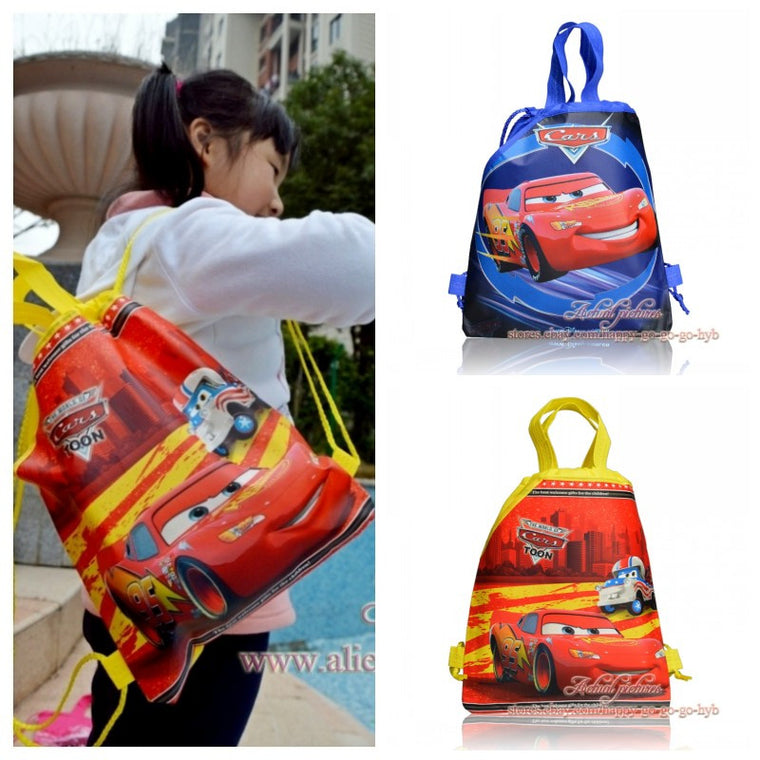 1PCS Cars Children Cartoon Drawstring Backpacks School Shopping Bags 34*27CM Non Woven Fabrics Kids Birthday Party Best Gift