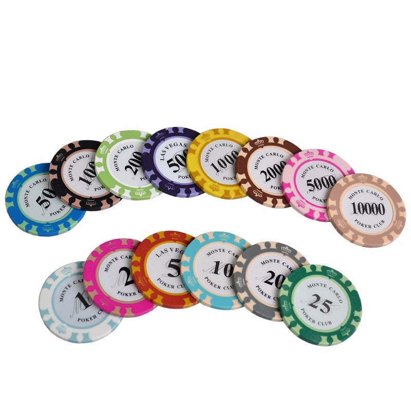 Wholesale 100pcs Monte Carlo Design High Quality Poker Chips 14g Clay/Iron/Abs Casino Chips Texas Hold'Em Poker Crowne Chips